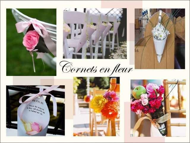 Decoration Chaise Bancs Deglise Mariage Composition Florale Cornet De Fleurs