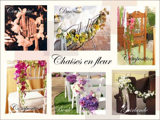 decoration chaise mariage composition florale guirlande
