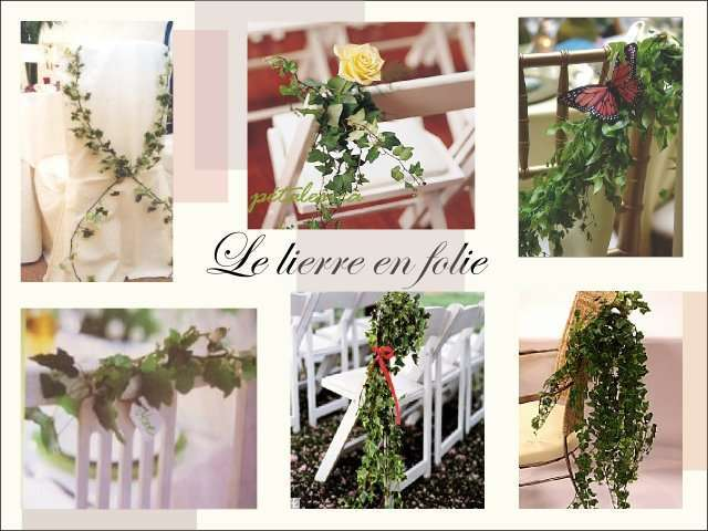 decoration chaise bancs d'eglise  mariage composition florale lierre