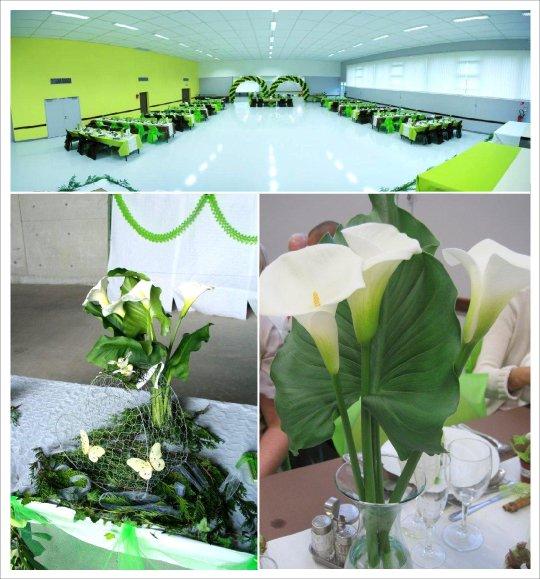 decoration mariage vert anis chocolat urne coeur grillage
