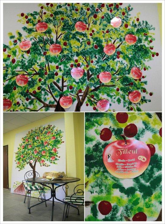 decoration mariage vert anis chocolat arbre plan de table pomme