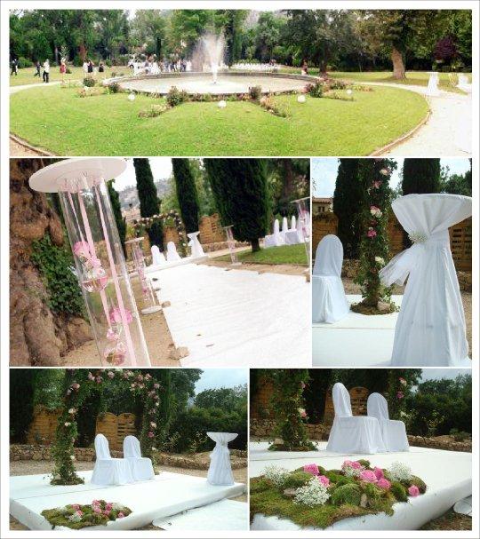 decoration mariage extéerieur rose vert portique