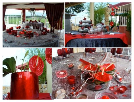 mariage zen gris rouge decoration de table