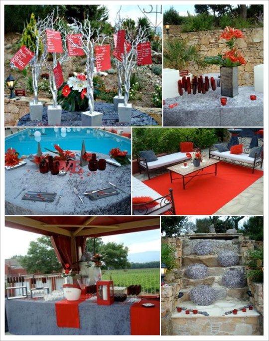 mariage zen gris rouge plan de table arbre