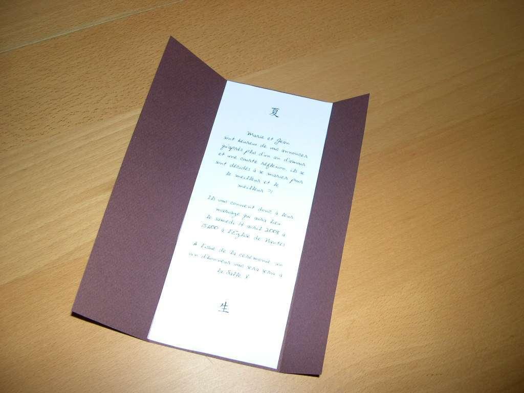 réalisation faire part  mariage thème asie zen loisirs créatifs  carte triptyque