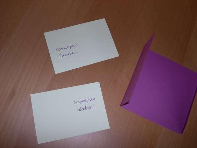 réalisatio exemple faire part mariage thème nature  carte semencier loisirs créatifs