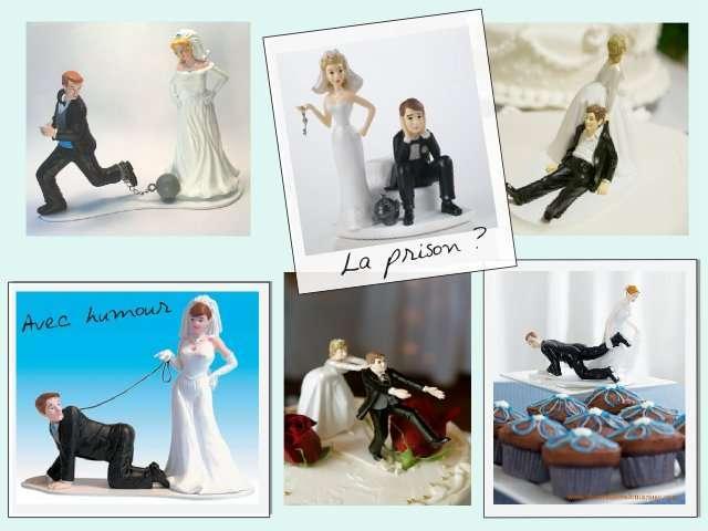 figurine mariage humoristique comique pièce montée gateau