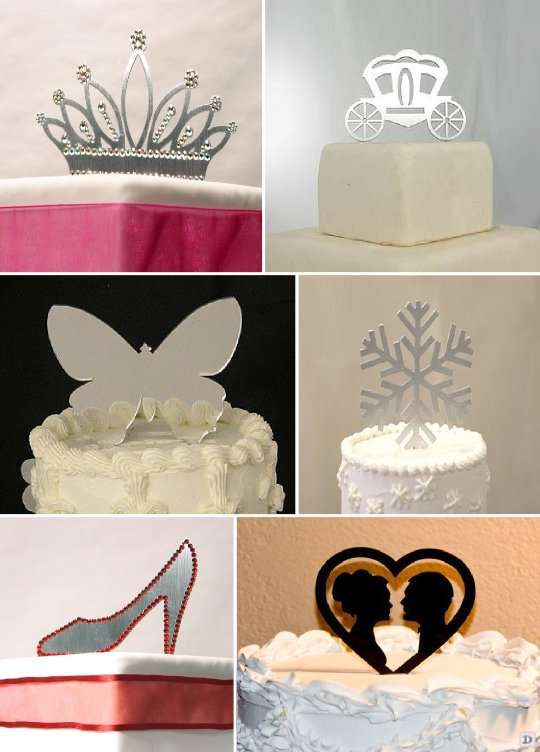 figurine mariage_gateau_piece_montee_metal_couronne_papillon_chaussure_silhouette