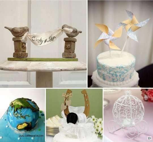 figurine mariage_gateau_piece_montee_globe_moulin_vent_fer_cheval_carrosse
