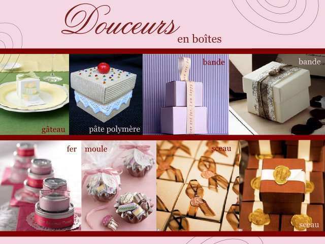 decoration mariage gourmand boite dragees