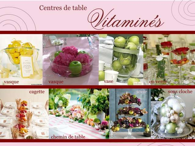 centre de table mariage gourmand fruits