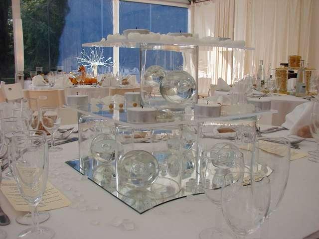 Mariage theme marais jardin aquatique - Centre de table avec miroir ...