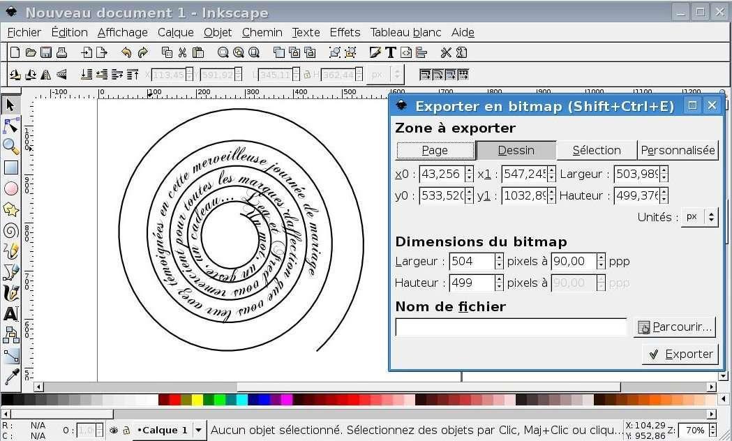 mettre un texte en spirale sous inkscape tutoriel mode d'emploi explication fiche technique
