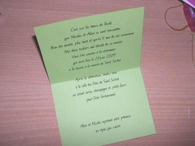 realisation mariage  exemple faire part cartable  explication mode d'emploi