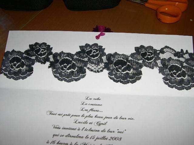 réalisation faire part mariage thème baroque romantique  tutoriel fiche technique dentelle