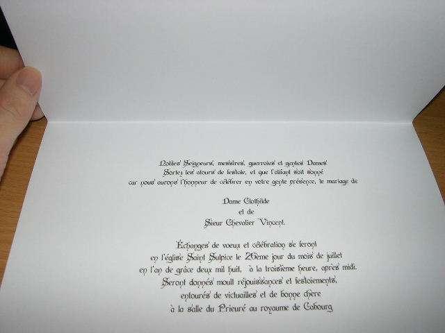 Décoration De Mariage Sur Le Thème Médiéval Faire Part