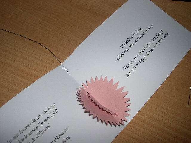 réalisation faire part invitation mariage thème papillons  tutoriel fiche technique fil de fer envol carte pop up