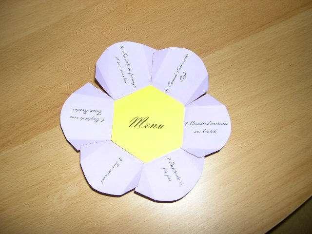 réalisation menu mariage thème nature fleur mode d'emploi