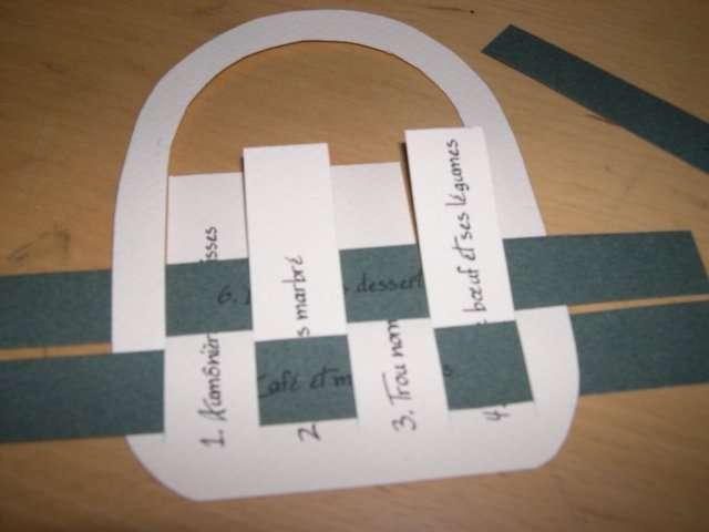 réalisation menu mariage panier en papier tissé  champêtre nature  explication