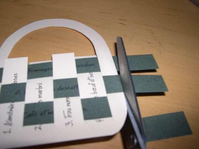 réalisation menu mariage panier en papier tissé champêtre nature  tutoriel fiche techniqu