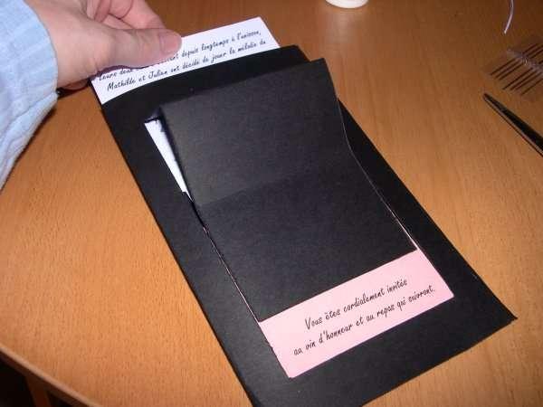 réalisation  exemple faire part mariage thème musique piano explication mode d'emploi carte origami
