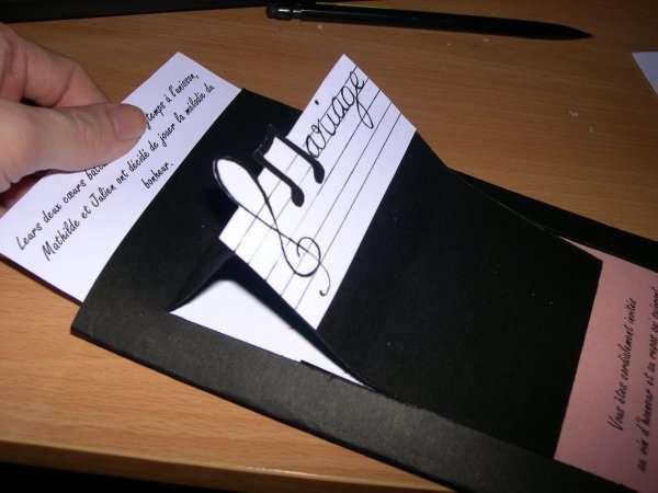 réalisation  exemple faire part invitation mariage musique piano'tutoriel fiche technique carte origami scrapbooking