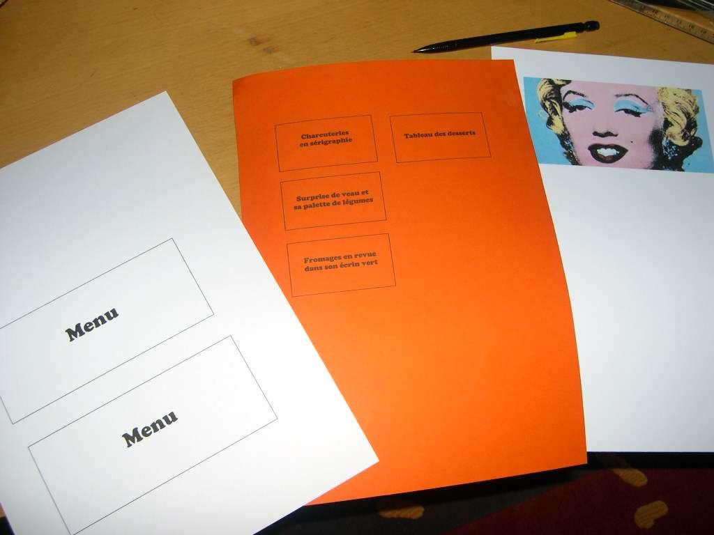 réalisation menu mariage flag pop art  loisirs créatifs bricolage faire soi même