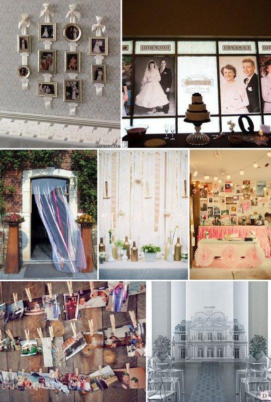 Idees decoration salle mariage - Decorer un mur avec des cadres photos ...