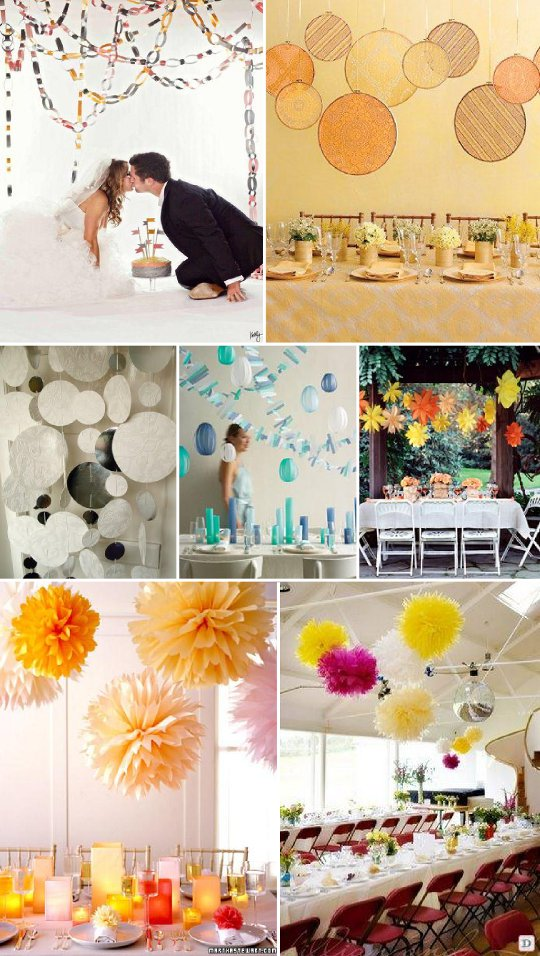 decoration_salle _mariage_pompons_chaine