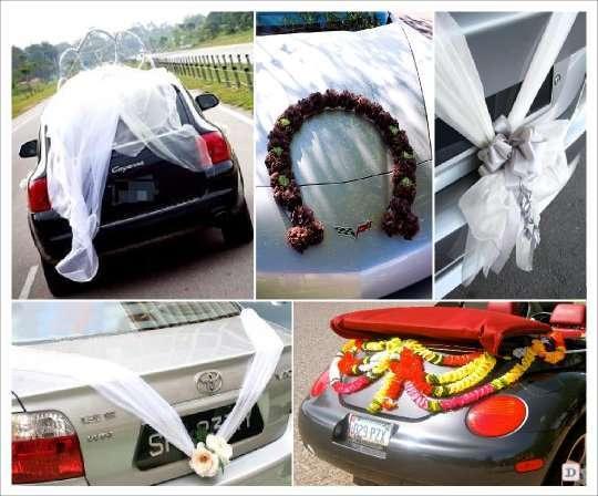 Decoration Voiture Tulle : Deco voiture mariage originale