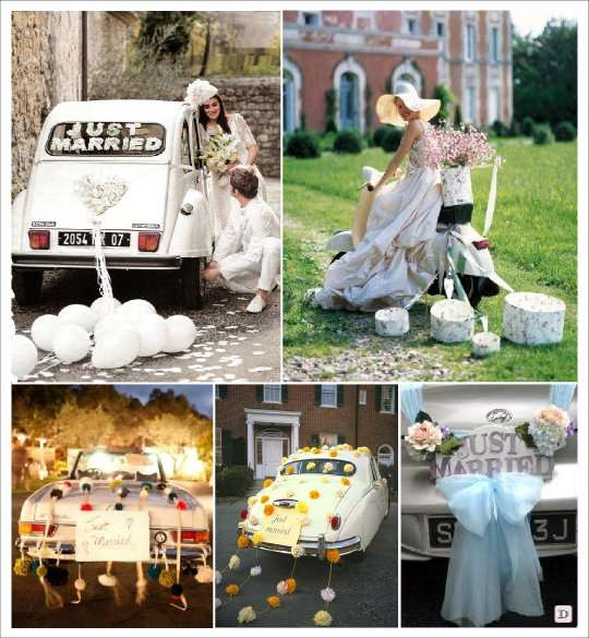 Id es decoration voiture mariage for Decoration 2cv mariage