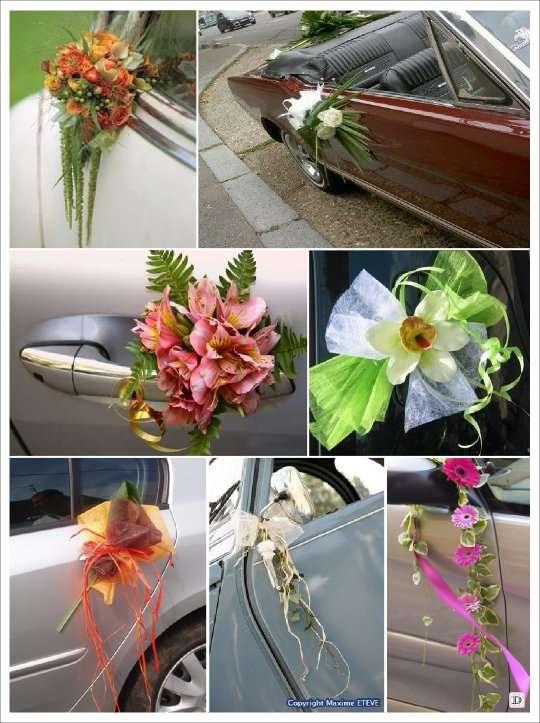decoration_voiture_mariage_poignee_raphia - Decoration Voiture Cortege Mariage