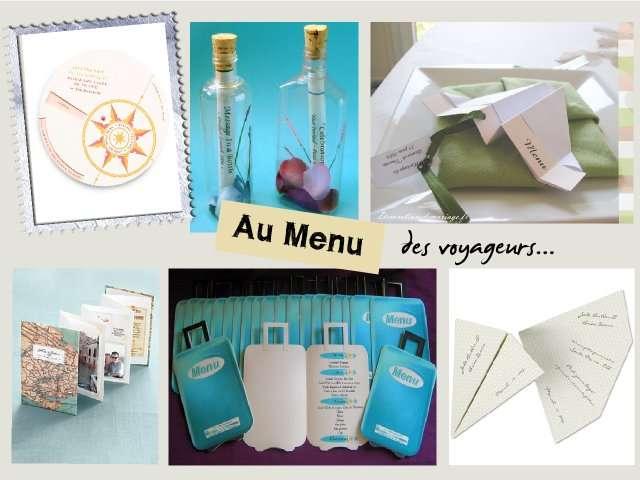 carte menu mariage theme avion