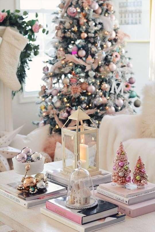 decoration de noel glamour rose et or