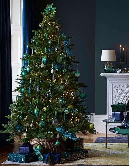 decoration noel paon vert émeraude