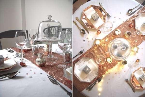 decoration table noel cuivre et argent-sous cloche étoile