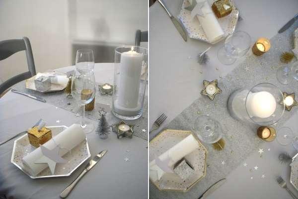 decoration noel or et argent etoile vaisselle jetable