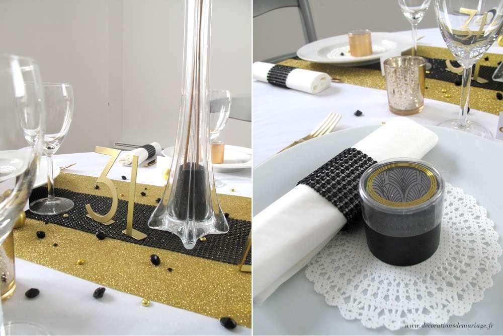decoration nouvel an table noir et dore chiffre