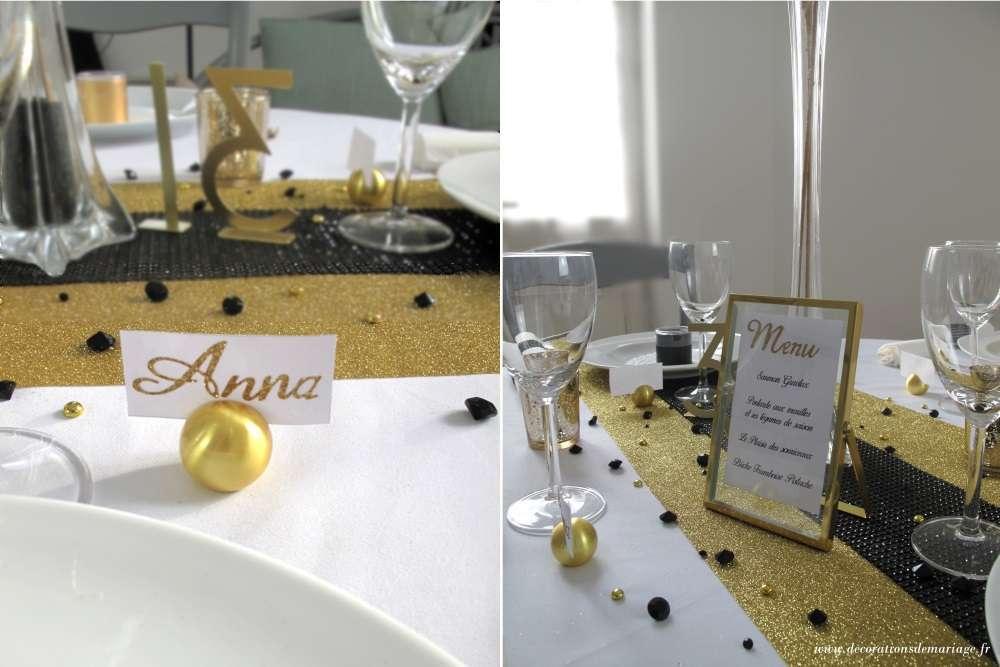 decoration table nouvel an marque place boule or cadre menu