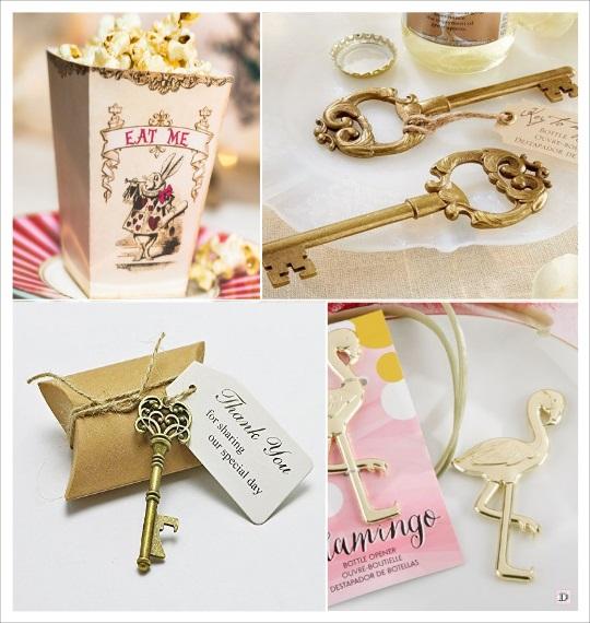 decoration mariage alice au pays des merveilles cadeaux invités boites dragées clé décapsuleur flamand