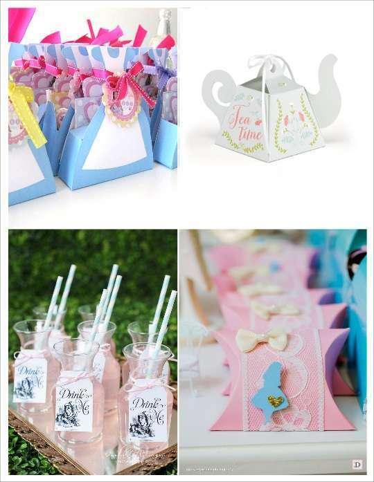 decoration mariage alice au pays des merveilles cadeaux invités pochon sac robe d'alice boite dragées théiere bouteille en verre