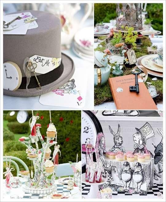 decoration mariage alice au pays des merveilles decoration de table chapeau présentoir gateau