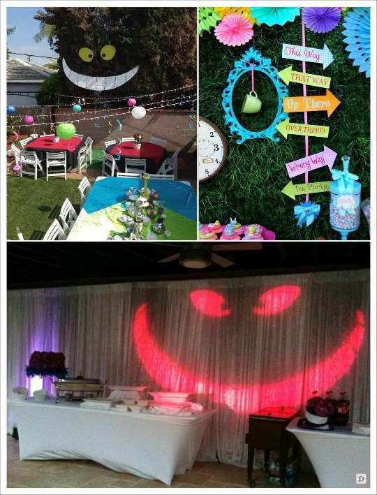 decoration mariage alice au pays des merveilles décoration salle spot lumineux chat encadrement