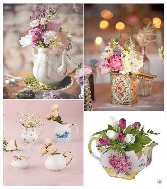 decoration mariage alice au pays des merveilles décoration table théière pot à lait boite de thé