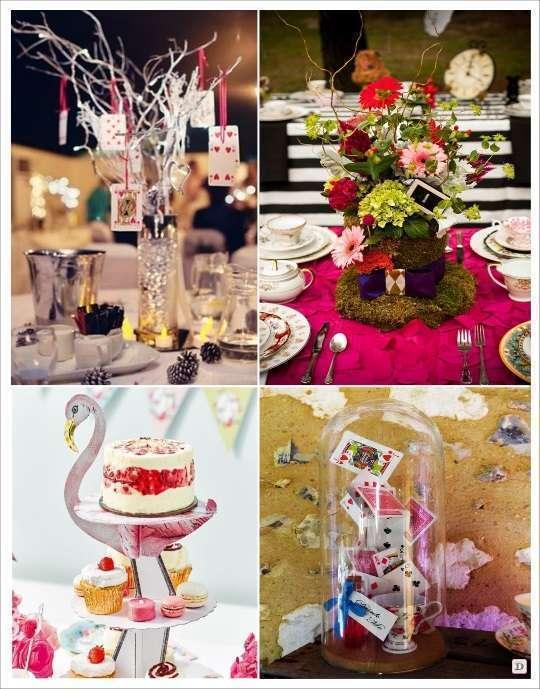 decoration mariage alice au pays des merveilles centre de table flamand rose branchage avec jeu de carte chapeau