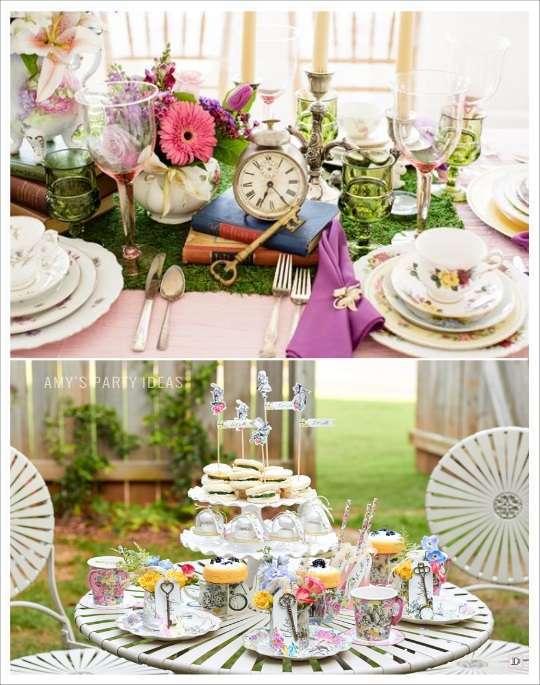 decoration mariage alice au pays des merveilles decoration de table chemin de table mousse verte horloge livre clé