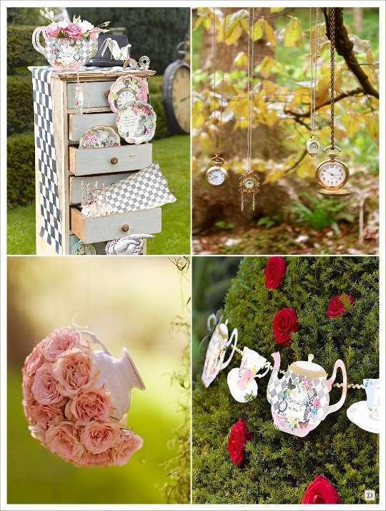 decoration mariage alice au pays des merveilles decoration salle tasse suspendue montre horloge