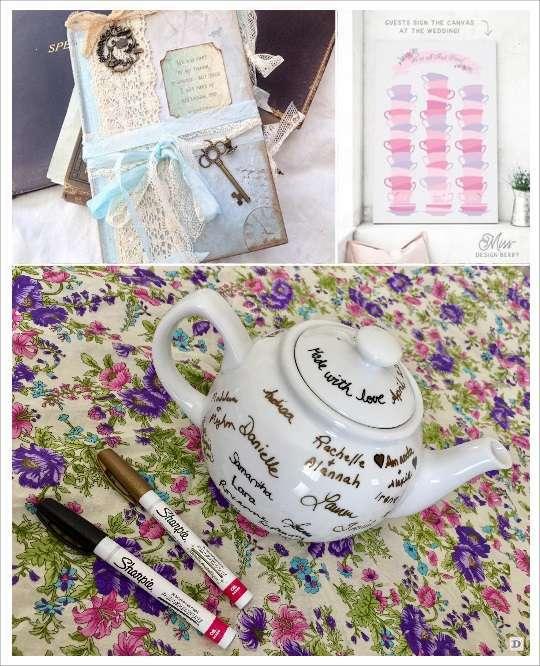 decoration mariage alice au pays des merveilles livre d'or toile à signatures théière