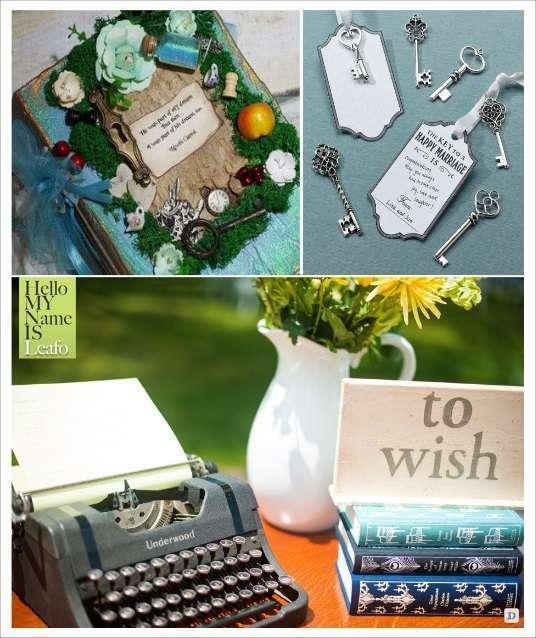 decoration mariage alice au pays des merveilles livre d'or clé à messages machine à écrire