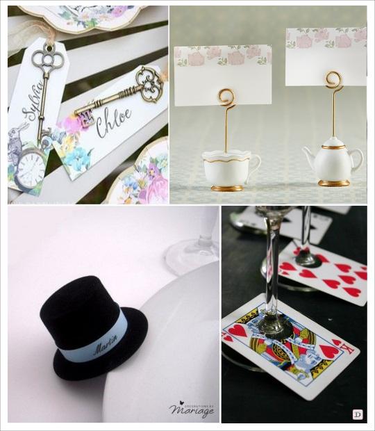 decoration mariage alice au pays des merveilles marque place chapeau théière clé carte à jouer